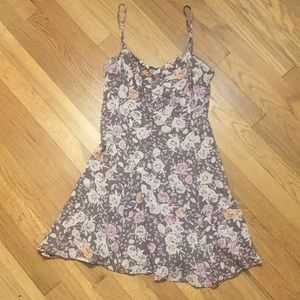 Free People floral gray and lavender skater dress